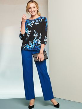 Asymmetric Flowers Sweater & Pants by Alfred Dunner