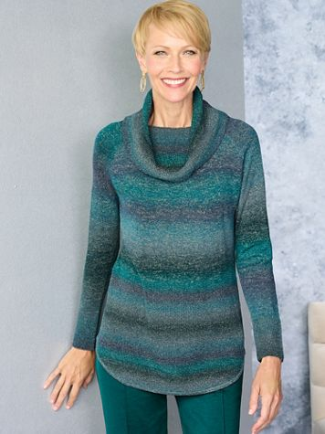 Ombré Cowl Neck Long Sleeve Sweater - Image 1 of 3