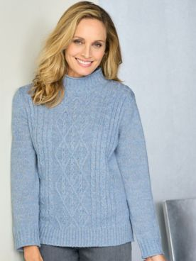 Alfred Dunner Classics Mock Neck Cable Long Sleeve Sweater