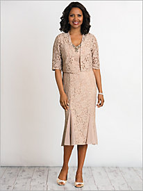 Fit And Flare Lace Bolero Jacket Dress by Alex Evenings