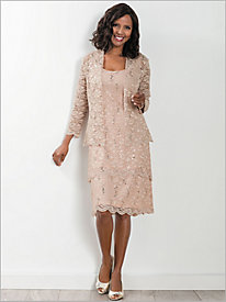 Pinwheel Lace Tiered Jacket Dress