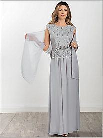 Cap Sleeve Lace Gown With Scarf