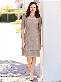 Double Tier Lace Dress by Alex Evenings