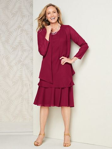 Special Occasion Flirty Georgette Jacket Dress - Image 1 of 14
