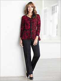 Luxe Lace Peplum Sweater and Pants Set