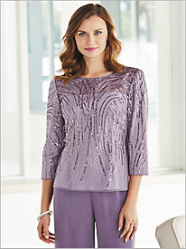Shimmering Sequin Blouse by Alex Evenings