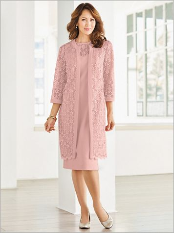 Embroidered Lace Duster Jacket Dress - Image 2 of 2