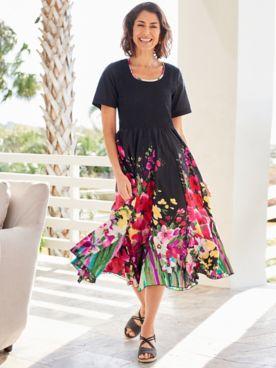 Floral Godet Smocked Dress