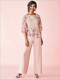 Watercolor Floral Tier Top & Chiffon Pants by Alex Evenings