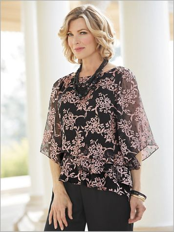Cherry Blossom Tiered Top by Alex Evenings - Image 2 of 2
