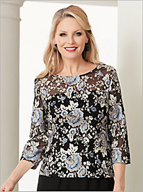 Floral Bloom Embroidered Top by Alex Evenings