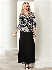 Floral Bloom Embroidered Top by Alex Evenings & Georgette Skirt