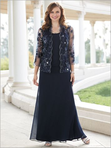 Scallop Lace Sequin Jacket Gown - Image 1 of 1