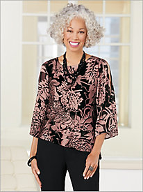 Paisley Floral Triple Tier Top by Alex Evenings