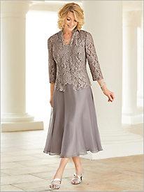 Scallop Lace T-Length Dress by Alex Evenings