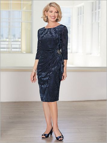 Embossed Floral Velvet Dress by Alex Evenings - Image 2 of 2