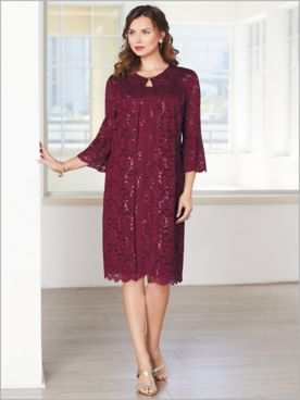 Lovely Lace Duster Jacket Dress by Alex Evenings