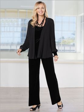 Pleated Velvet Pant Set