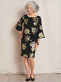 Floral Foil Bell Sleeve Dress