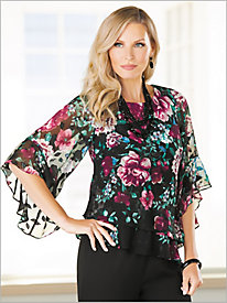 Flirty Floral Tiered Top by Alex Evenings