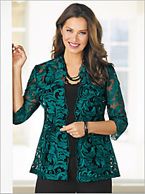 Floral Embroidered Jacket Twin Set by Alex Evening