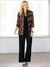 Regal Embroidered Jacket Twin Set by Alex Evenings & Georgette Slim Leg Pants