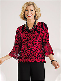 Floral Embroidered Bell Sleeve Blouse by Alex Evenings