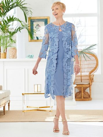 Floral Lace Scallop Duster Jacket Dress by Alex Evenings - Image 1 of 3