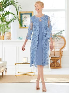 Floral Lace Scallop Duster Jacket Dress by Alex Evenings