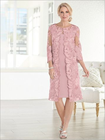 Floral Lace Scallop Duster Jacket Dress by Alex Evenings - Image 2 of 2