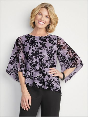 Floral Triple Tier Asymmetrical Top by Alex Evenings - Image 3 of 3