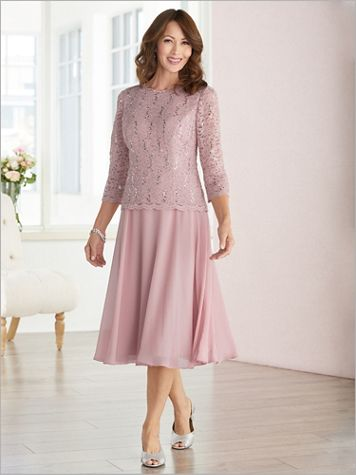 Scallop Edge Lace T-Length Dress by Alex Evenings - Image 1 of 1
