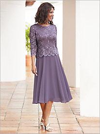 Scallop Edge Lace T-Length Dress by Alex Evenings
