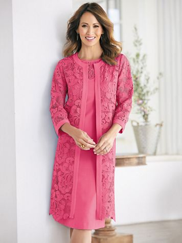Lovely Linen And Lace Jacket Dress - Image 3 of 4