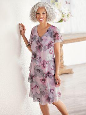 Shimmer Floral Tiered Dress