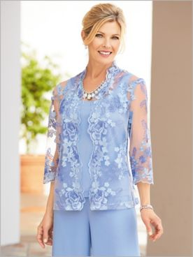 Floral Delight Embroidered Twin Set by Alex Evenings