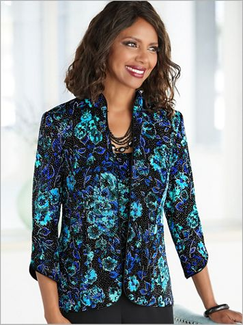 Alex Evenings Botanical Sparkle Special Occasion Knit Twin Set  - Image 2 of 2