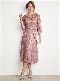 About Lace Tea Length Dress by Alex Evenings