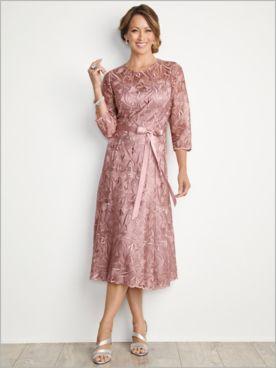 About Lace Tea Length Dress by Alex Evenings