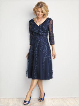 Flirty Floral Tea Length Dress by Alex Evenings