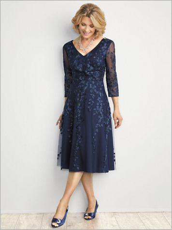 Flirty Floral Tea Length Dress by Alex Evenings - Image 2 of 2