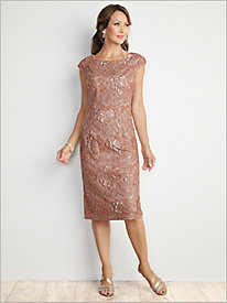 Simply Sequin Sheath Gown by Alex Evenings
