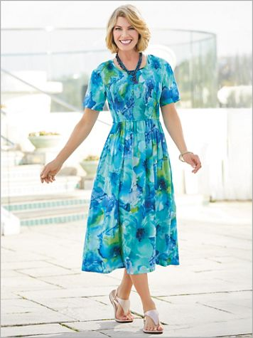 Watercolor Floral Smocked Dress - Image 1 of 1