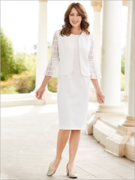 Window Pane Bell Sleeve Jacket Dress