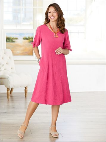 Tied Sleeve Pucker Up Dress - Image 1 of 4