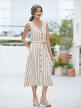 Buttons 'N Bow Stripe Dress