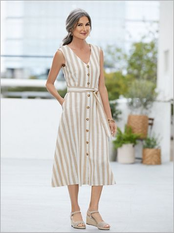 Buttons 'N Bow Stripe Dress - Image 2 of 2