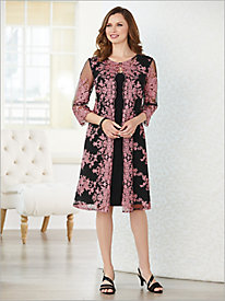 Floral Embroidered Duster Jacket Dress by Alex Evenings