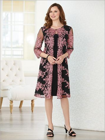 Floral Embroidered Duster Jacket Dress by Alex Evenings - Image 3 of 3