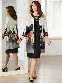 Abstract Foil Floral Jacket Dress